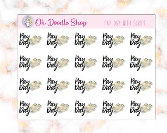 Pay Day Planner Stickers with Script