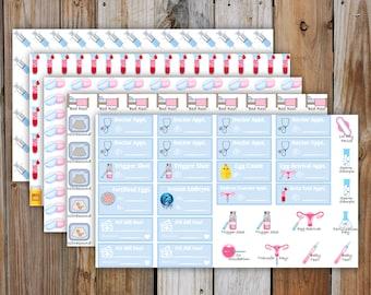 IVF Planner Stickers, DELUXE KIT| Fertility (In Vitro Fertilization) Medical Planner Kit | 5 Pages