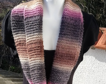 Hand knitted wool infinity cowl - Multi colour neck warmer - Ladies knitted seamless infinity scarf with drop stitch pattern