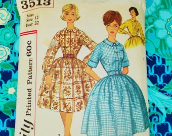 "Simplicity Sewing Pattern - Early 1960's -  Woman's one-piece full-skirted dress - Size 12 bust 32"" -  Mpn 3513 - Used and complete"
