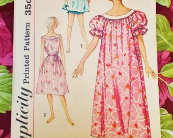 Simplicity  Sewing Pattern - late 1950's - Woman's Muu Muu, Nightgown & Panties - Medium  - Mpn 2566 - Used and complete
