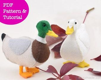 Duck Sewing Pattern, Felt Animal Pattern, Stuffed Animal Pattern, Handmade Gift, Mallard Duck, Farm animal pattern, Farmhouse decor