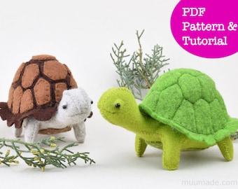 Turtle Tortoise Sewing Pattern, Felt Animal Pattern, DIY Craft Project,  Felt Reptile Toy, Handmade Gift, Stuffed Animal Pattern, Home Decor