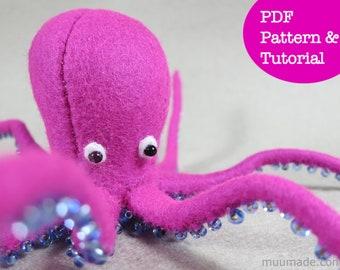 Octopus Sewing Pattern, Felt Animal Pattern, Unique Decor, DIY sewing project, Handmade Gift, Felt Toy, Sea Animal pattern