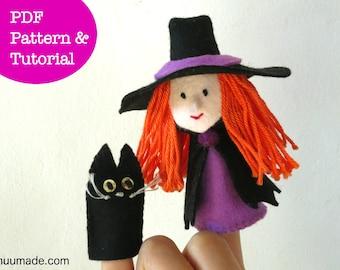 Witch Finger Puppet Sewing Pattern,  Black Cat Finger puppet, Handmade Felt toy gift, Felt ornament, Kawaii decor, DIY craft project