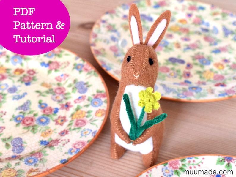 Rabbit Sewing Pattern Felt Bunny Pattern stuffed animal image 0