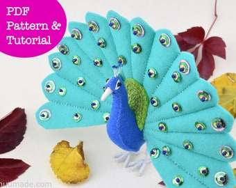 Peacock Sewing Pattern, Felt Animal Pattern, Stuffed Animal Pattern, Handmade Gift, Felt Bird Pattern, Home decor, DIY sewing project