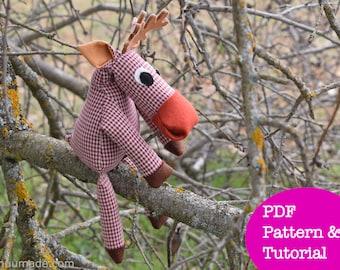 Moose Sewing pattern, Reindeer, Caribou, Deer, Stuffed Animal Sewing pattern, Handmade gift, Soft Plush, Woodland animal, DIY sewing project