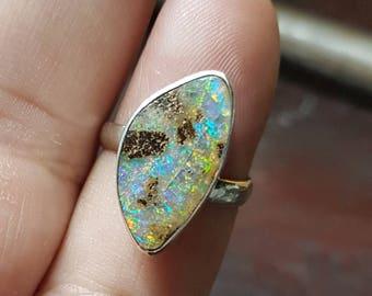 boulder opal fully adjustable 925 silver ring
