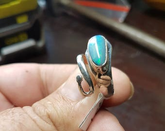 925 silver fully adjustable doulet opal ring