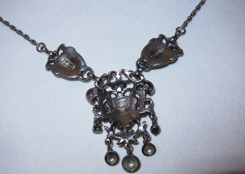 Great Steampunk Jewellery Vintage 40/'s  50/'s Jewelcraft Gothic Style Drop Choker Necklace and Clip Earring Set