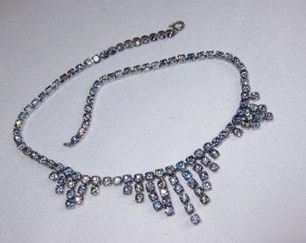 Sparkly Vintage 30's / 40's Rainbow Iris Rhinestone Crystal Articulated Drop Necklace