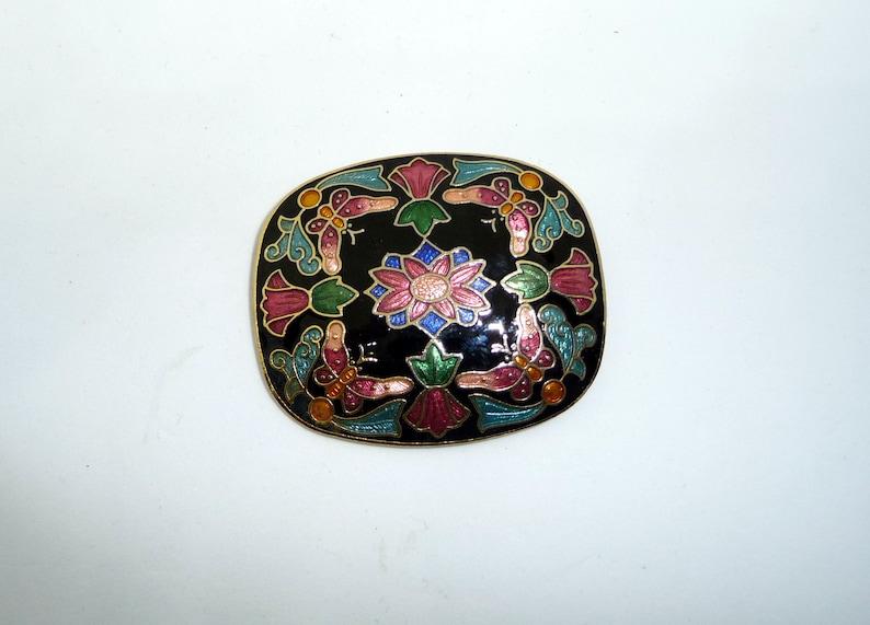 Vintage Cloisonne Enamel Butterfly /& Flowers Brooch