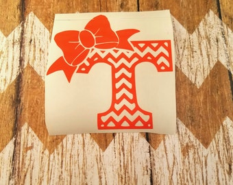 e7b71ca57cb265 Chevron Power T with Bow Yeti Decal |Also Great for Laptops, Ozark's,  RTICs, Water bottles, Mugs, Cars, Tumblers,etc|Tennessee T|Girly Decal