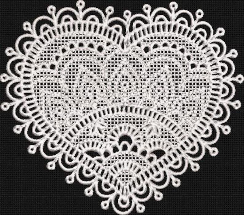 machine embroidery design fill stitch lace Lace heart embroidery design needlepoint needlework lace embroidery, satin stitch