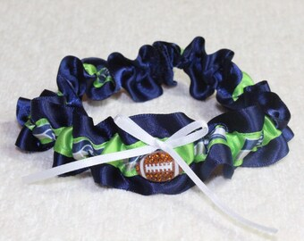 Seattle Seahawks Navy Blue Wedding Garter Set Football Double Heart Charm Sport