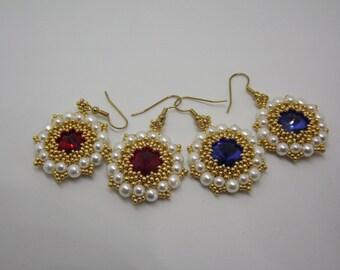 Pearl earrings, beaded earrings, handmade earrings, blue earrings, red earrings, pendant earrings, light earrings