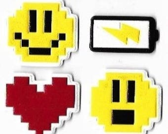 Video Game / Techno Sticker Set - 6 Puffy, Leather-Feel Stickers