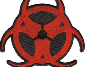 Red Biohazard Embroidered Patch, Iron On Applique, Toxic, Poison, Warning