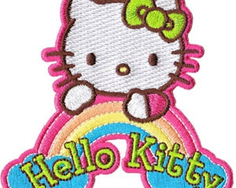 Ironing Image Patches Mono Quick Hello Kitty Applique Jeans Oval Label