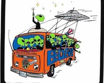 Alien in Retro Bus Bumper Sticker, UV Protected, Vintage 1990s, Extra Terrestrial, Aliens, Space Ship, UFO