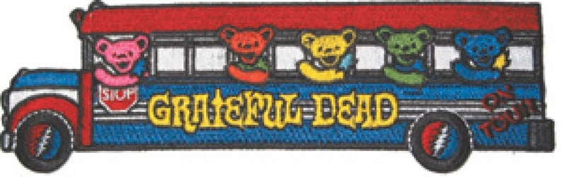 Grateful Dead Tour Bus with Bears Embroidered Patch / Iron On Applique  Band, Jerry Garcia, Deadheads, Sixties