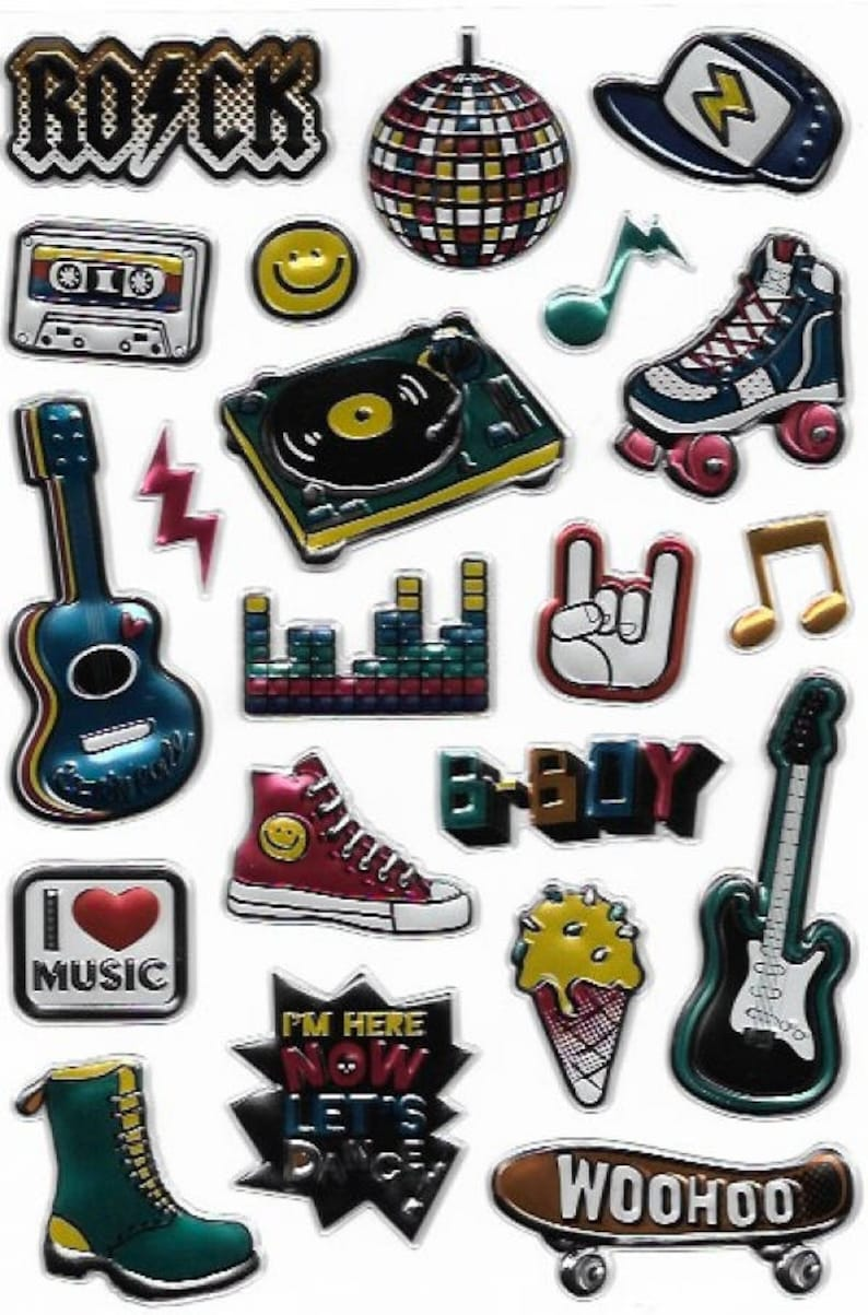 I Heart Music Embossed Foil Sticker Set - 21 Shiny and Colourful Stickers