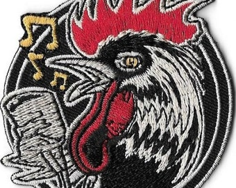 Rockabilly Rooster Embroidered Patch / Iron On Applique, Low Brow Artist Kruse,  Psychobilly, Retro, Fifties