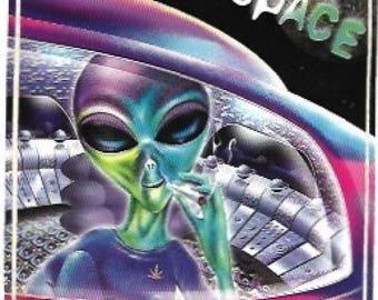 Alien / Lost In Space Sticker, Vintage 1990s, Extra Terrestrial, Weed, Cannabis, Bumper Sticker, Aliens, Space Ship, UFO