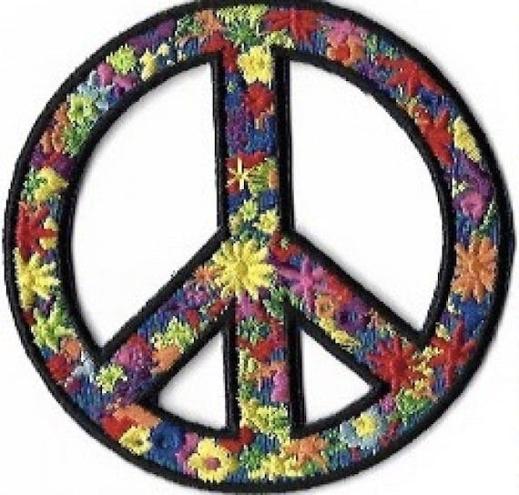 Flower Power Peace Symbol Embroidered Patch Iron On Applique Etsy