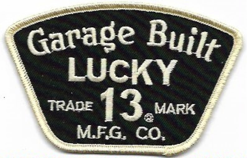 Lucky 13 Red Square Patch Rockabilly Punk Kustom Retro Iron On Bike motorcycle