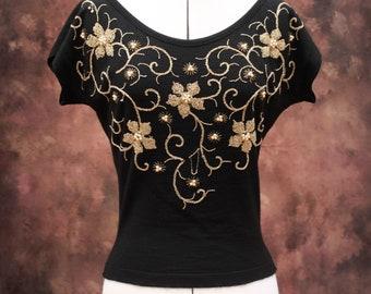 Vintage 1950s 50s Glamorous Black Gold Beaded Wool Fine Knit Top UK 10 US 6 8 medium rockabilly pinup evening