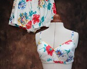 Vintage 1960s 60s White Floral 2 Piece Bikini Sun Top Shorts Set Swimsuit UK 10 Small Medium US 8 Rockabilly Pinup Bombshell 50s