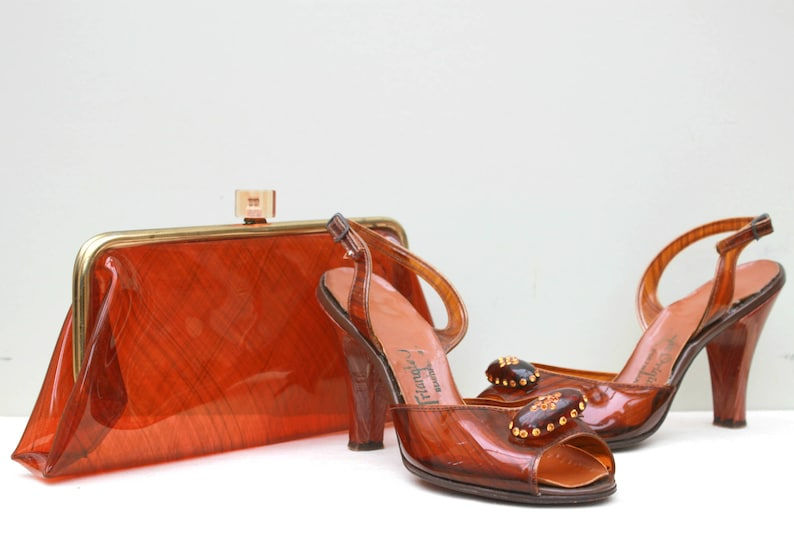 a7741be1cfc Vintage 1950s 50s Clear Tortoise Shell Amber Heels Shoes