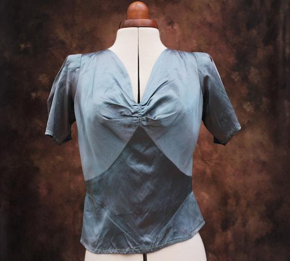 Vintage 1940s 40s Eau de Nil Slate Blue Satin Blou