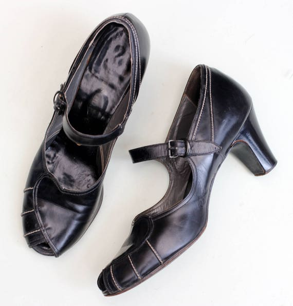 Vintage 1940s 40s black mary jane leather shoes wh
