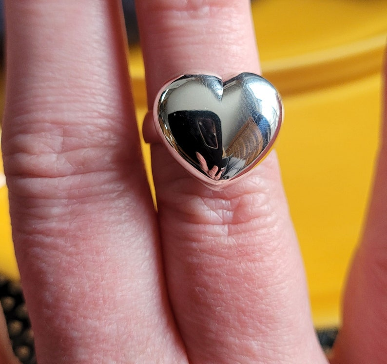 Sterling Silver Puffed Heart Ring