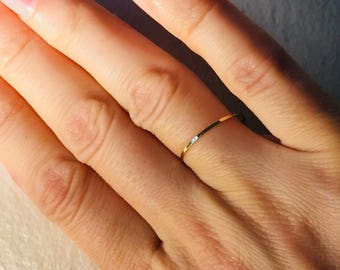 14k Dainty wedding band, solid 14k yellow gold, knuckle ring, stacking rings, midi ring