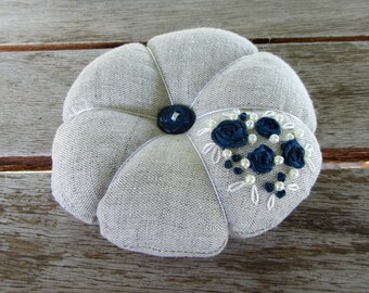 Pincushion, sewing accessory, floral pincushion, Hand embroidered pincushion, needle holder, embroidered linen