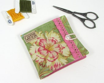 Floral needle book, small needle case, sewing supplies,  needle storage case, sewing notions, gift for crafter, handmade needle organizer
