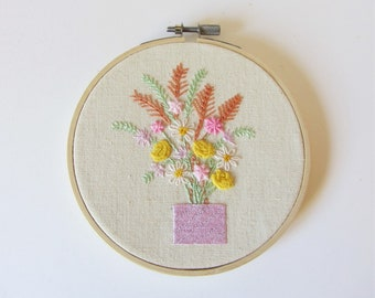 Hand embroidery hoop art, wall decor, house warming, embroidered decoration, wall hanging, gift for her,