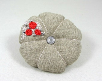 Linen pincushion, sewing accessory, red, silver, floral pincushion, Hand embroidered pincushion, needle holder