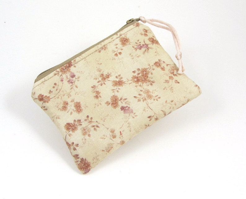 pocket size purse for women change and card pouch red floral case Small coin purse choose your colour cotton purse kit