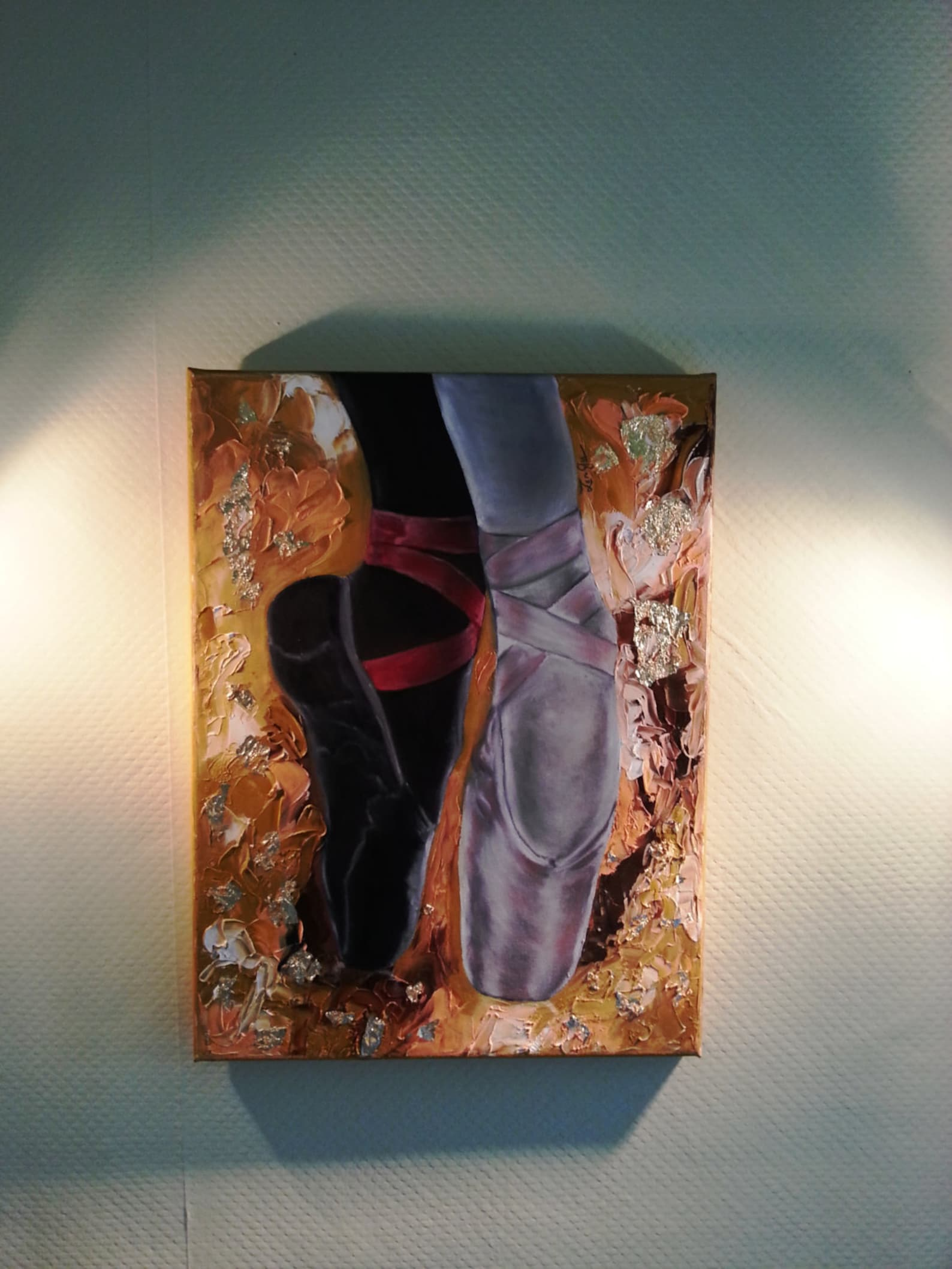 ballet shoes oil painting on canvas. made to order . ballet theme art wall decor. great housewarming gift. shipping worldwide