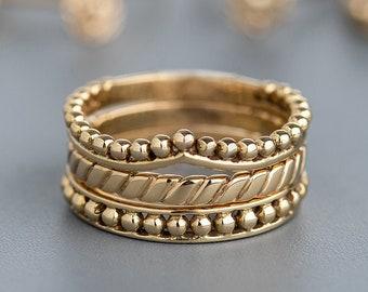 14K Gold Ring Set for Women, Gold Stacking Rings, Boho Wedding Rings, Unique Womens Rings, Stackable Ring Set, Hippie Ring Set, Indian Rings