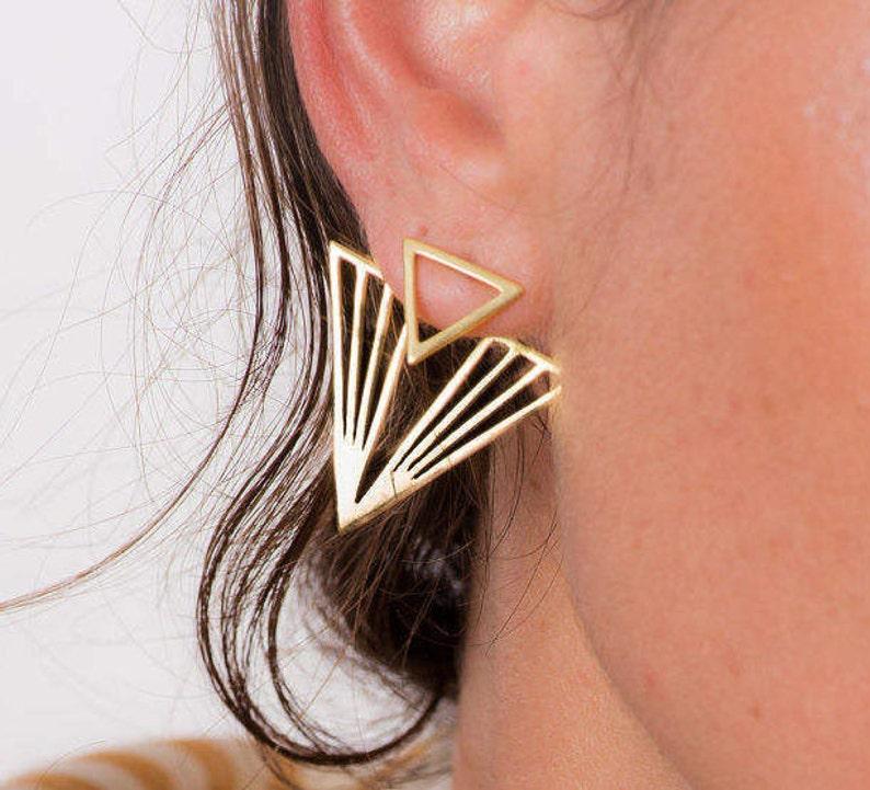 baebfdf1b Geometric Earrings Gold Stud Earrings Ear Jackets Back | Etsy