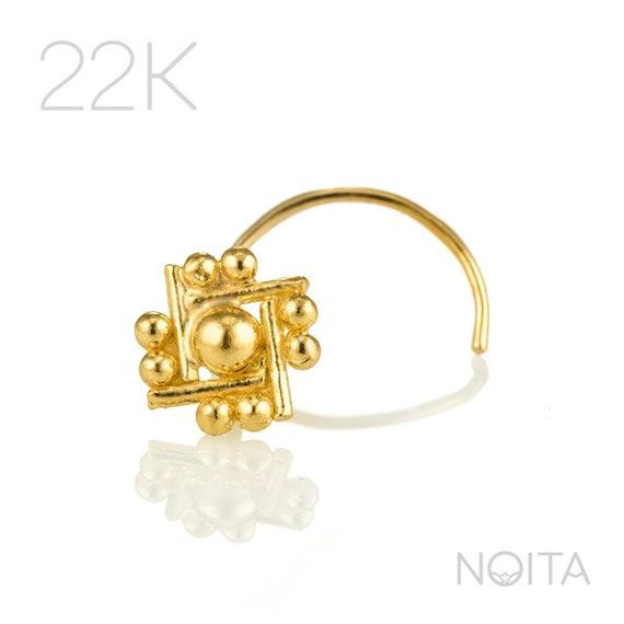 Nose Stud Gold Nose Ring 22 Karat Gold Stud Indian Nose Etsy