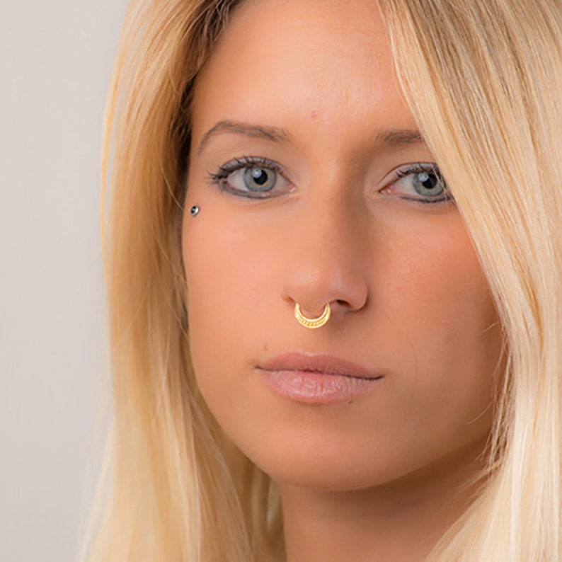 72334d68e59 Fake Septum Ring In Gold For Non Pierced Nose, Indian Nose Ring, Faux  Septum Ring, Tribal Septum, Nose Jewelry