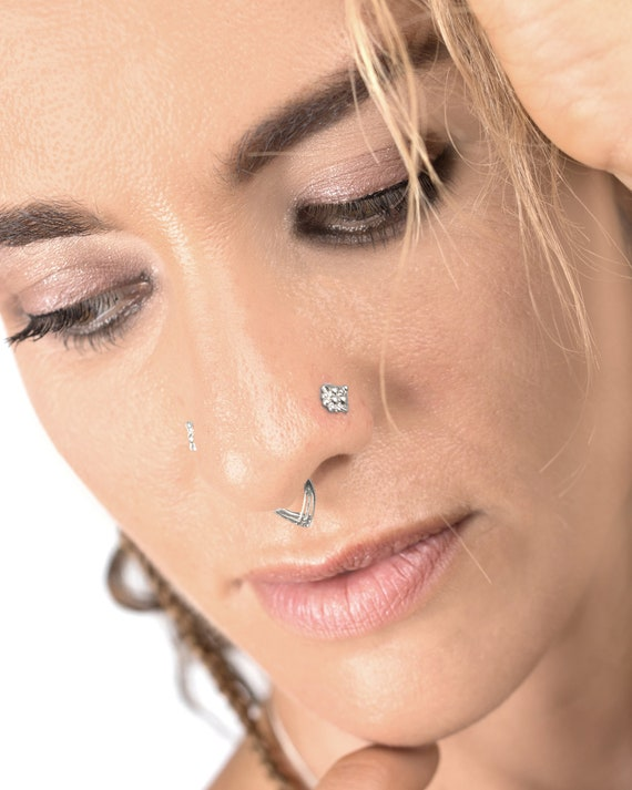 Boho Nose Stud Nose Pin Nose Ring Stud Silver Nose Stud 24g 18g Indian Jewelry 20g Tribal Nose Stud Nose Piercing Tragus Earring