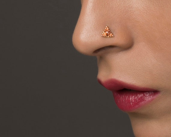 14K Jaune//Or Blanc Rond Diamant créé Nose Ring Stud Body Piercing 0.03 ct